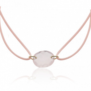 Bracelet Cordon Quartz Rose Ovale - Bellon