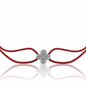 Bracelet Cordon Pétales Or blanc et Diamants