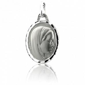 Médaille Vierge Profil Droit Ovale Or Blanc 18K