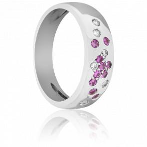 Bague Constellation Diamants et Saphirs Roses - Bellon