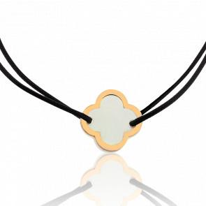 Bracelet Cordon Fleur de Nacre Blanche