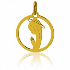 Médaille Vierge en Prière Ajourée Ronde Or Jaune 18K