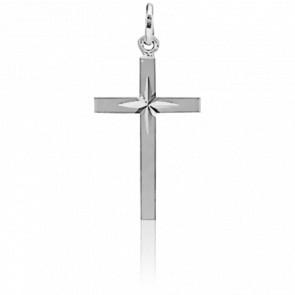 Croix Étoilée 13 x 20 mm Or Blanc 18K
