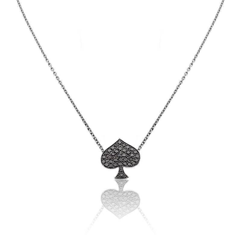 collier pique or blanc et diamants noirs ocarat. Black Bedroom Furniture Sets. Home Design Ideas