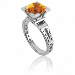 Bague French Kiss Or Blanc et Citrine