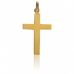 Pendentif Croix Moyenne Plate Polie Or Jaune 18K