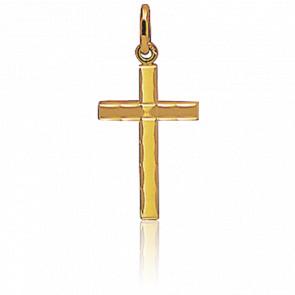 Petite Croix Bords Guillochés 16 x 11 mm Or Jaune 18K