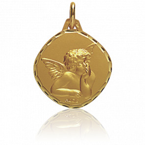 Médaille Ange Raphaël Losange Or Jaune 18K