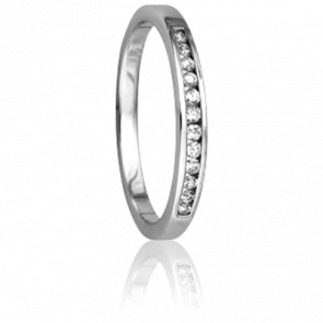 Alliance Enjoleuse Or Blanc et diamants 0,12 carat.