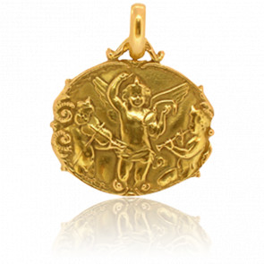 Médaille Anges Musiciens Ovale Or Jaune 18K