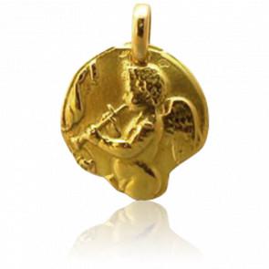 Médaille Ange au Pipeau Or Jaune 18K