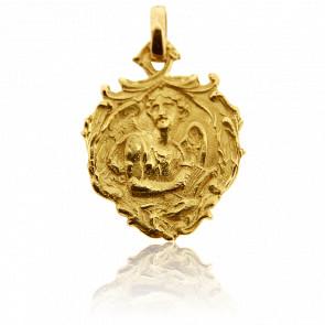 Médaille Ange Gabriel Coeur Or Jaune 18K