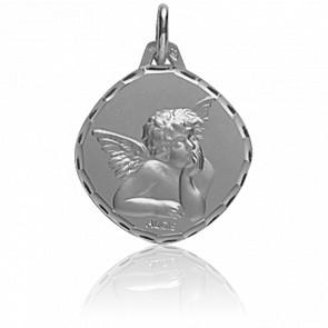 Médaille Ange Raphaël Losange Or Blanc 18K