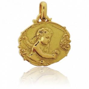 Médaille Ange à la Rose Or Jaune 18K