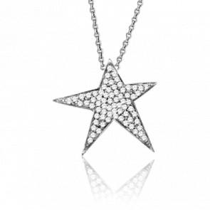 Collier Diamond Star Or Blanc