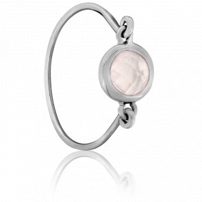 Bague Kirkos Or Blanc et Quartz Rose - Bellon