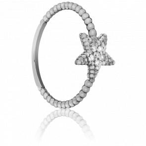 Bague Etoile Perlée Or Blanc et Diamants - Bellon