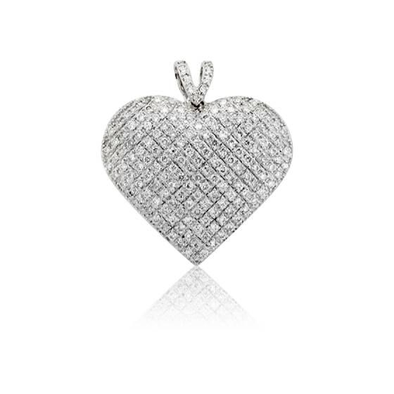 Pendentif Coeur Bombé Diamants 0,30 ct & Or Blanc 18K