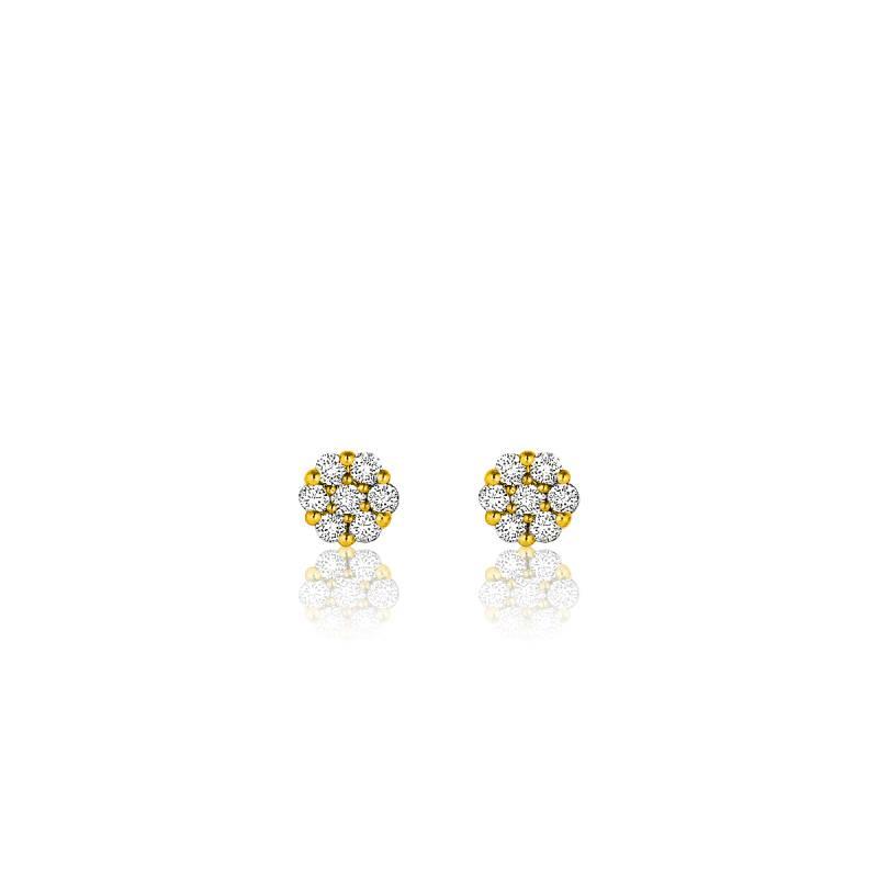 boucles d 39 oreilles fleur or jaune 18k et diamants ocarat. Black Bedroom Furniture Sets. Home Design Ideas
