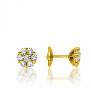 Boucles d'Oreilles Fleur Or Jaune 18K & Diamants