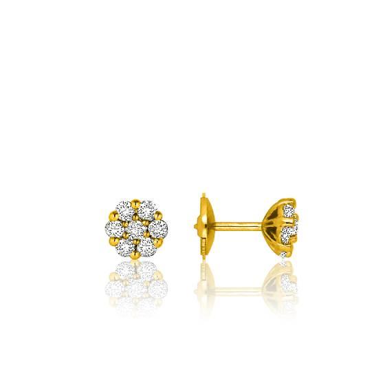 promotion style actuel apparence élégante Boucles d'oreilles fleur en diamants, or jaune 18K - Lena - Ocarat