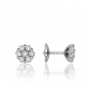 Boucles d'oreilles fleur en diamants, or blanc 18 carats