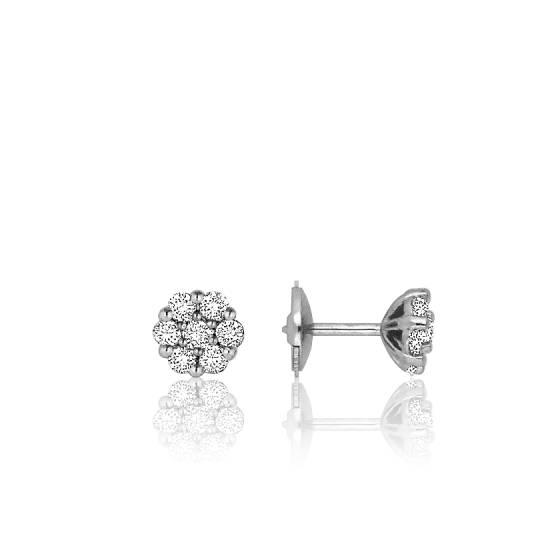 boucles d 39 oreilles fleur blanche or blanc diamants ocarat. Black Bedroom Furniture Sets. Home Design Ideas
