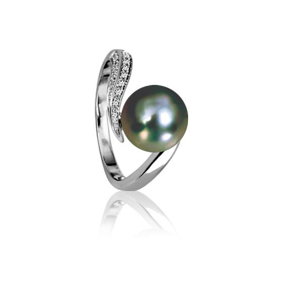 bague perle tahiti or blanc