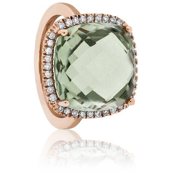 Bague Aénor Or Rose, Améthyste Verte et Diamants
