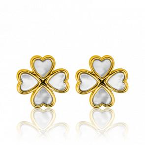 Boucles d'oreilles trèfle, or jaune 18 carats et nacre