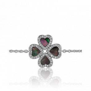 Bracelet Trèfle Nacré Diamanté Or Blanc - Allegoria