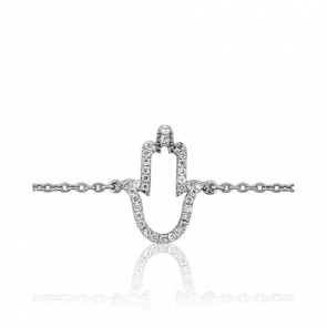 Bracelet Main de Fatma Or Blanc