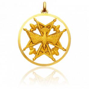 Médaille Huguenote Ajourée Or Jaune 18K - Becker