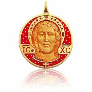 Médaille Christ Email Rouge Or Jaune 18K