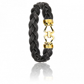 Bracelet 730 Sabaye Acier Noir & Or Jaune 18k