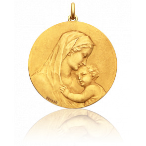 Médaille Vierge Maternité Baisé Or Jaune 18K
