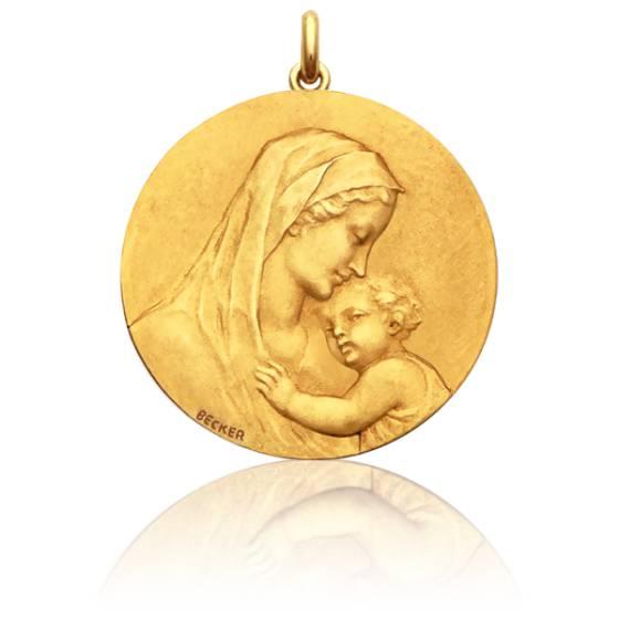 Médaille Ronde Vierge Maternité Or Jaune 18K