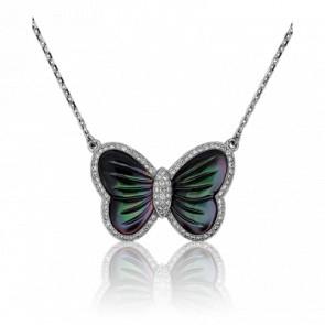 Collier Papillon Nacré, Diamants & Or Blanc 18K