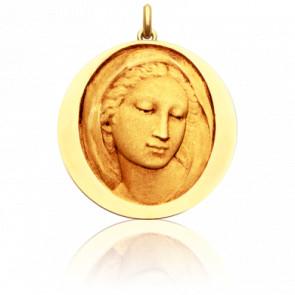Médaille Vierge Florentine Ronde Or Jaune 18K