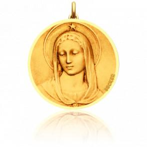 Médaille Vierge Maris Stella Ronde 16 mm Or Jaune 18K