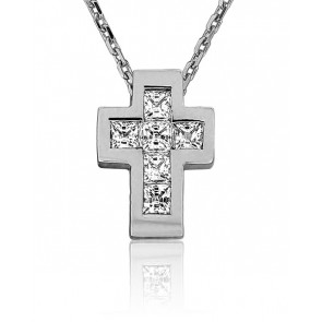 Collier Croix Plate Diamantée Or Blanc 18K