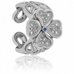 Bague Bonheur Or Blanc, Saphir et Diamants