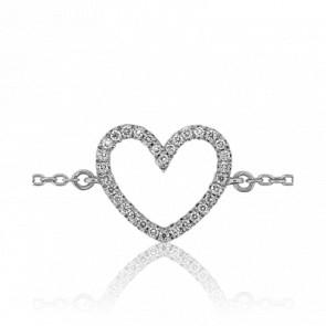 Bracelet Coeur Or Blanc