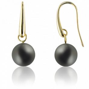 Boucles d'oreilles perles de Tahiti et or jaune 18K