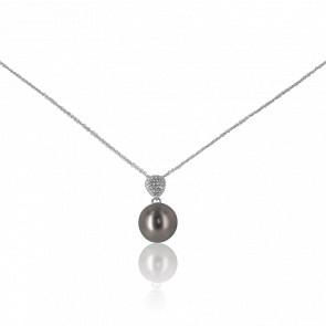 Collier Hina Perle de Tahiti, Diamants & Or Blanc 18K