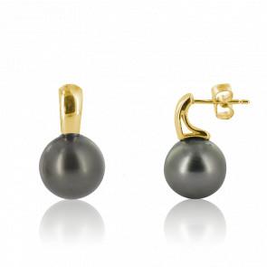 Boucles d'oreilles perles pendantes et or jaune 18 carats