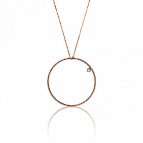 Collier Simply Circle Or Rose et Diamant Ø 31 mm