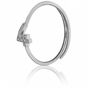 """Bague Chiffre """"4"""" Or Blanc et Diamants"""