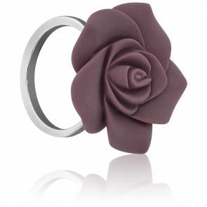 Bague fleur en argent et résine violette