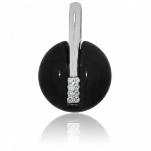 Pendentif Polka Résine Noire, Or Blanc 18K  & Diamants